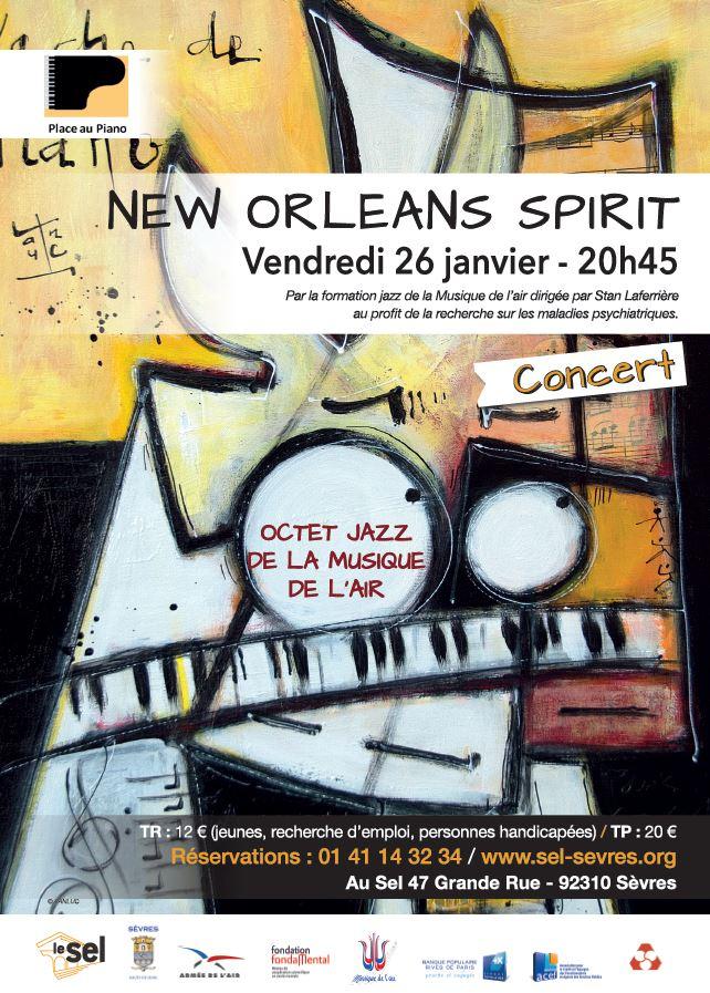 Grande affiche concert New Orleans Spirit, Place au Piano, 26 janvier 2018
