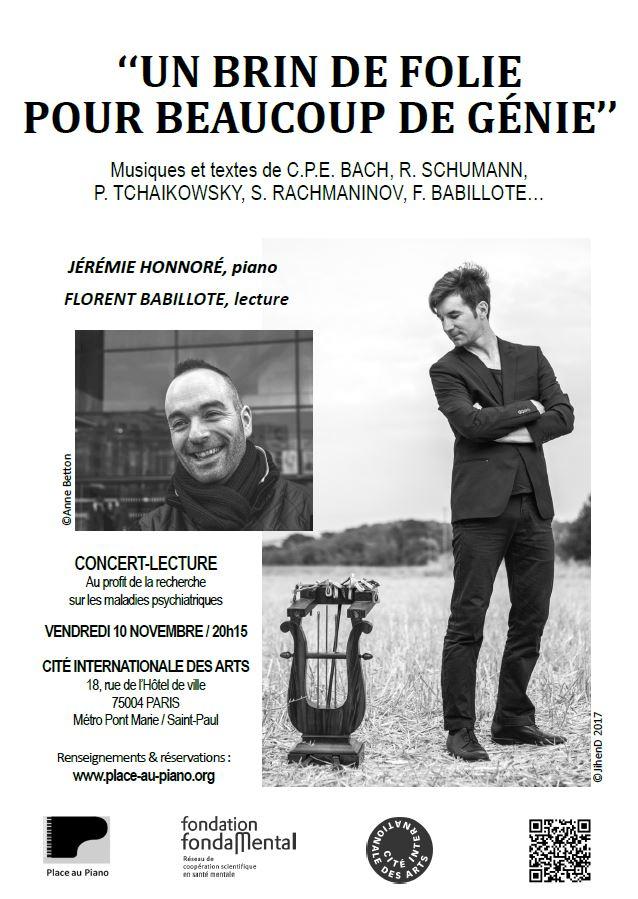 Concert-lecture, Place au Piano, novembre 2017