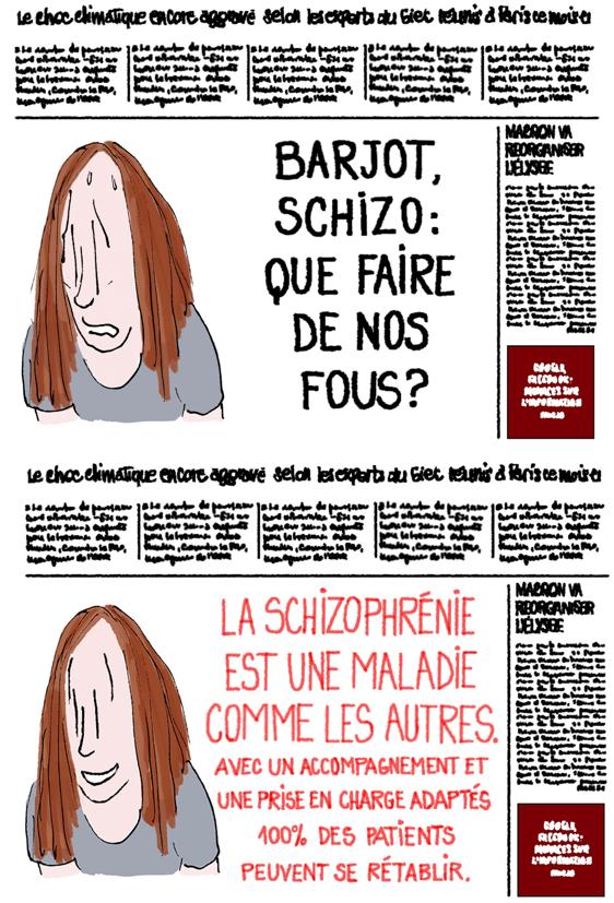 Idée reçue stigmatisation de la schizophrénie, crédit Fiamma Luzzati