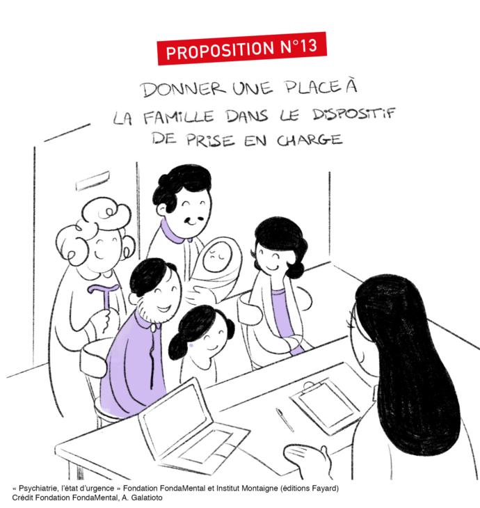 """Proposition n°13: donner une place aux familles dans le dispositif de prise en charge, in """"Psychiatrie: l'état d'urgence"""", éditions Fayard"""
