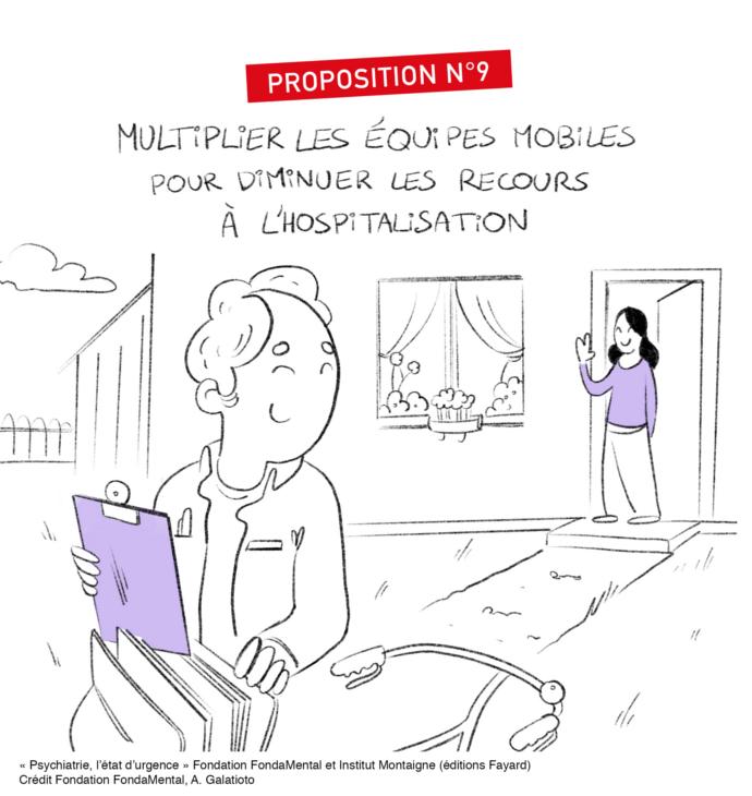 """Proposition n°9: développer les équipes mobiles, in """"Psychiatrie: l'état d'urgence"""", éditions Fayard"""