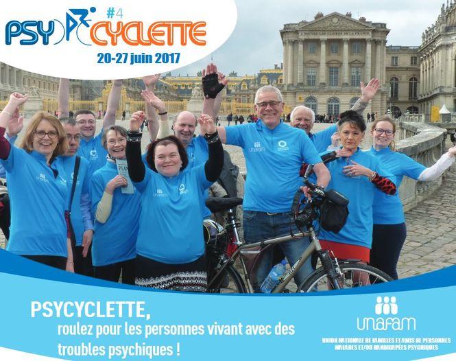 Affiche de la Psycyclette 2017, Unafam