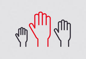 Un pictogramme représentant 3 mains levées - appels à projets