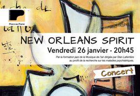 Affiche concert New Orleans Spirit, Place au Piano, 26 janvier 2018