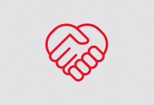 pictogramme : deux mains serrées forment un coeur - devenir mécène