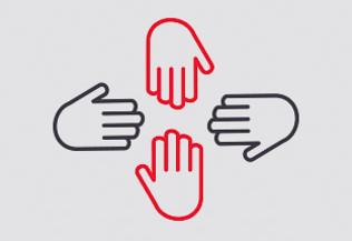 un pictogramme représentant 4 mains tendues les unes vers les autres - partenaires
