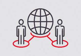 pictogramme : deux silhouettes humaines reliées à une sphère - réseau - données - FACE