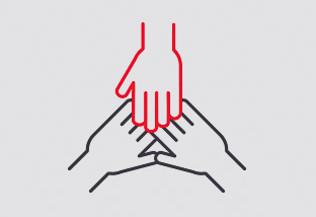 un pictogramme représentant 3 mains qui se tiennent - aide et réseau